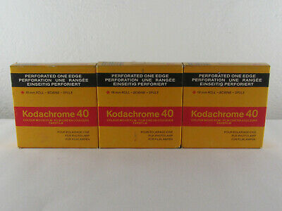 (x3) Kodak Kodachrome 40 16 mm roll KMA 455 P TYPE A EXPIRED 1991 PERFORATED ONE