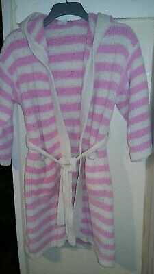 Girls Dressing Gown age 7-8 years. . NEXT. hooded ..stripes
