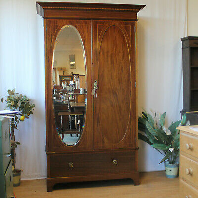 Edwardian Inlaid Wardrobe  One Drawer Bevelled Oval Mirrored