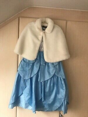 Girls I want to be princess dressing up gown age 7/8 (Cinderella) plus fur shrug