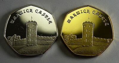 Pair of WARWICK CASTLE Commemoratives. 24ct Gold. Silver. Albums/Collectors 2019