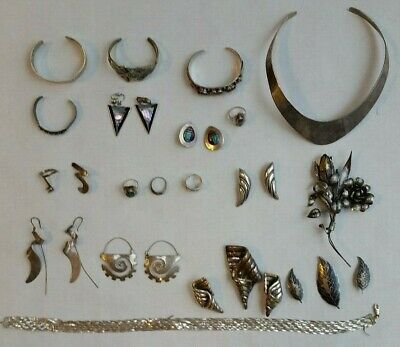 VINTAGE 335 grams Sterling Silver 925 Jewelry Lot Wear or Repurpose Mix