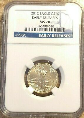 2012 1/4th oz $10 Gold Eagle NGC MS70 Blue Label Early Release