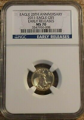 2011 25th Anniversary 1/10th oz $5 Gold Eagle NGC MS70 Early Release