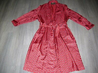 dressing gown gentleman's vintage 50s style traditional red paisley bit worn L