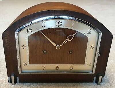 Wooden Art Deco Striking 8 Day Mantle / Mantel Clock - Fwo