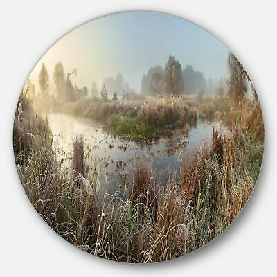 Designart 'Frosty Grass Aside River Panorama' Landscape  Extra Large