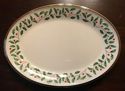 """LENOX China Holiday Dimension Holly 14"""" Oval Serving Platter Dinnerware 24K Gold"""