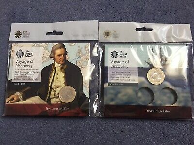 Set Of 2018 and 2019 Captain Cook £2 Two Pound coins Both In Royal Mint Pack .