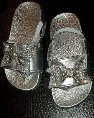 Girls Kids Silver Diamante Bow Sliders Infant 8 Brand New in Box