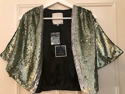 River Island Green Silver Sequined Bolero Size M RRP £69.99 Party