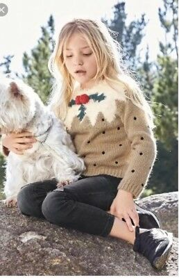 Girls Fluffy Christmas Pudding Jumper Age 7  from Next