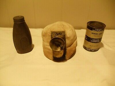 Coal Miners Mining Cloth Hat/Cap w/ Carbide Light, Flask, and Can