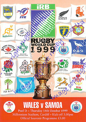 WALES v SAMOA RUGBY WORLD CUP 14th OCTOBER 1999 PROGRAMME