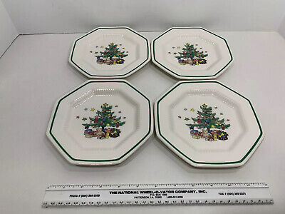 "4 NIKKO Japan Christmastime 6 1/2"" Dessert Plates in Excellent Condition!"