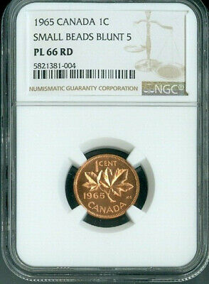 1965 Canada 1 Cent Small Beads Blunt 5 Ngc Pl66 Rd Deal
