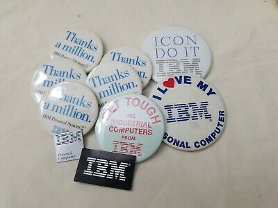 Lot of 8 Old Vintage IBM Computer Advertising Buttons Pins *read description*