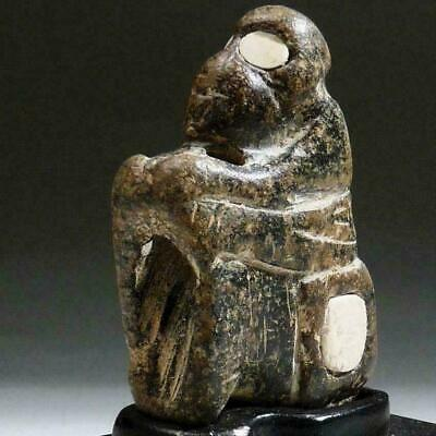 BACTRIAN Stone MONKEY Inlaid Alabaster EYES, Throne, Rare Amulet 1600 BC