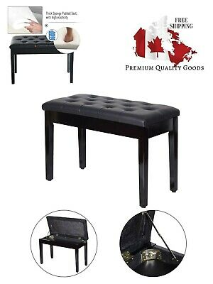 "HOMCOM 30"" Padded Storage Piano Bench Artist Keyboard Seat Faux Leather (Black)"