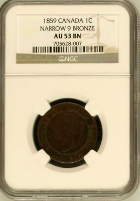 "1859 1C Canada One Cent ""Narrow 9 Bronze"" NGC AU-53 BN ""Free Shipping!"
