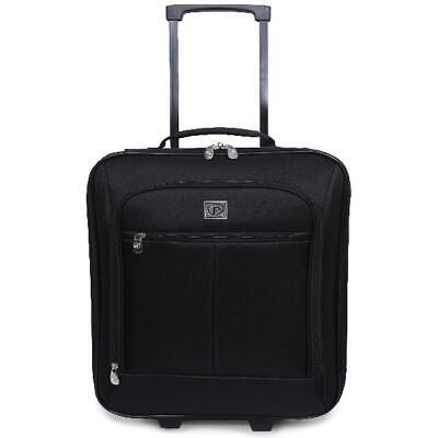 "18"" Pilot Suitcase Case Carry-On Black Wheels Rolling Travel Handle Pocket Small"