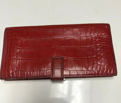 Women's Wallet, Red Leather Moc Croc, Saks 5th Avenue, Made In Italy Lightly Use