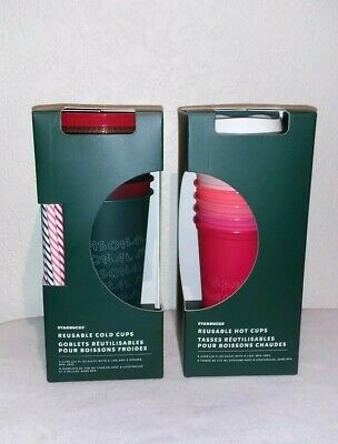 NEW Starbucks 2019 Holiday Christmas Reusable 6 Cold & 5 Hot Cups 1 Set of Each!