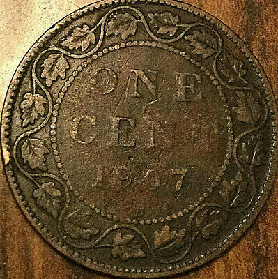 1907H CANADA LARGE CENT COIN LARGE 1 CENT PENNY - Good example!