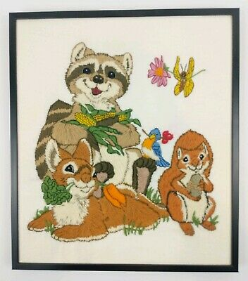 Vtg Crewel Embroidery Dimensions ANIMAL SNACKERS Linda Powell COMPLETED KIT Cute