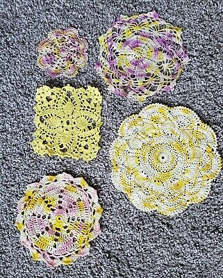 Vintage Hand Crochet Doily Spring White Variegated Purple Pink Yellow LOT of 5