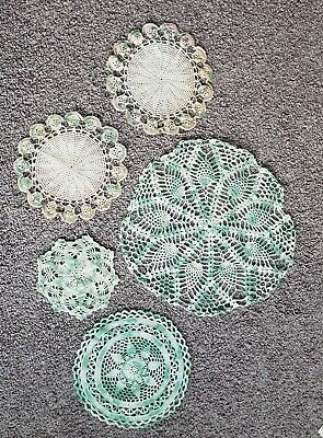 Antique Lot Crochet Doilies Mixed Large & Small 5 Pc White Mint Green Pink