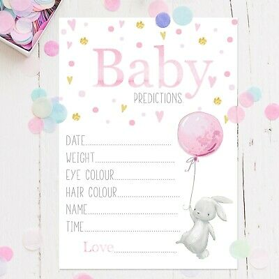 Baby Shower Games - Prediction Cards Pink Baby Girl Rabbit New Mum To Be Favours