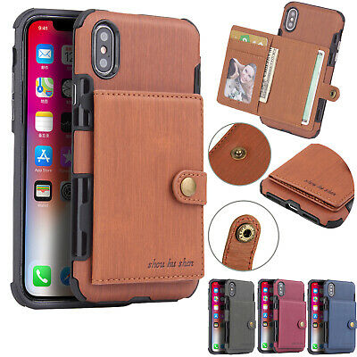 For iPhone 11 Pro Max X XR Xs 6s 7 8 Plus Leather Wallet Shockproof Case Cover