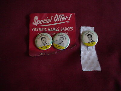 3 Lux  1956  Olympic Tin Badges. John Landy,,Jon Henricks,,Merv Lincoln.