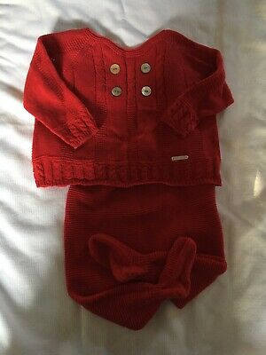 Pili Carrera Baby Boutique Spanish Brand Lovely Red Set 3M.