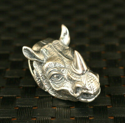 rare cool chinese 925 silver hand carved cow head statue pendant netsuke gift