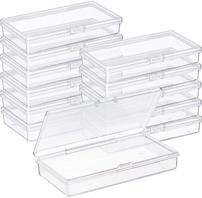 SATINIOR 12 Pack Clear Plastic Beads Storage Containers Box with Hinged Lid for