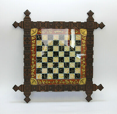 Lovely Antique Banff Folk Art Hand Painted On Glass Chess Hanging Draught Board