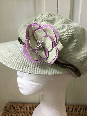 Ladies Grey Cotton Cord Beret Cap  Hat With Lilac Lining And Flower
