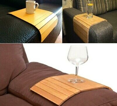 Flexible Wooden Sofa Arm Chair Tray Cup Organiser Snack Serving Trays Arm Rest