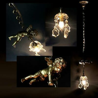 lovely antique FRENCH CHERUB CRYSTAL CHANDELIER putti ceiling light