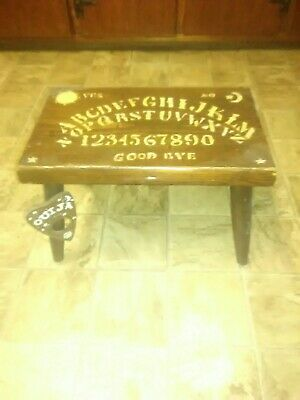 Hand Carved Wooden Ouija Board Foot Stool & Hanging Planchette