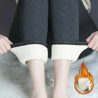 Women's Warm Winter Tight Thick Velvet Wool Cashmere Pants Trousers Leggings UK