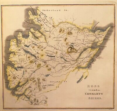 ANTIQUE MAP OF ROSS AND CROMARTY SHIRES, c1810