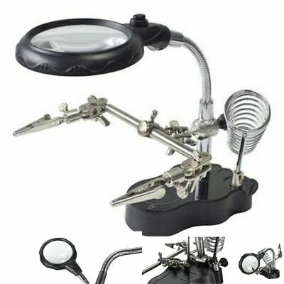 Led Soldering Stand Holder Helping Hand Magnifying Glass Magnifier Multiplier X3