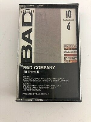 VINTAGE FROM 1985 AUDIO CASSETTE TAPE By BAD COMPANY - 10 FROM 6 Atlantic Label