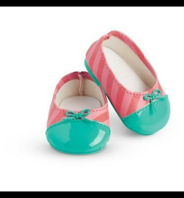 New American Girl Bright Stripes Flats Pink/Aqua Shoes~Dance~Isabelle~Tenney