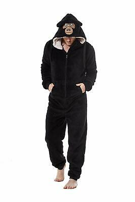 Mens/Kids Snuggle Fleece Dressing Gown/Onesee With Animal Face Hood - Mens Sizes