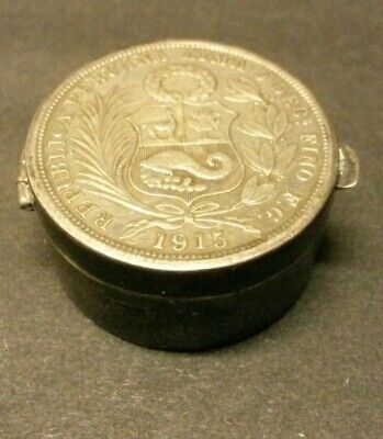Unusual Peruvian 1915 half sol coin, Antique vintage silver pill / trinket box