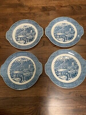 "4 Currier Ives Royal China Platter Tab Handle Cake Plate ""The Rocky Mountains"""